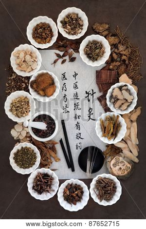 Acupuncture needles, moxa sticks and chinese herbal medicine selection with calligraphy script. Translation reads as acupuncture chinese medicine is a traditional and effective medical solution.