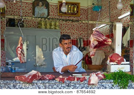 Butcher In An Open Air Moroccan Market