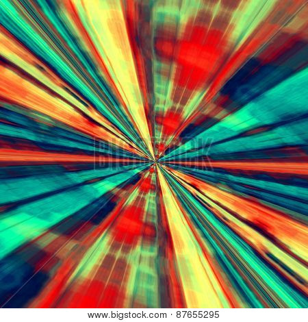 Speed concept. Abstract digital art. Blue red background. Fractal tunnel. Futuristic illustration.