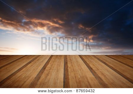 Beautiful English Countryside Landscape Over Rolling Hills With Wooden Planks Floor
