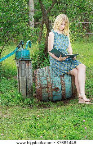Barefoot Student Girl In Blue Silk Feminine Dress Reading Book