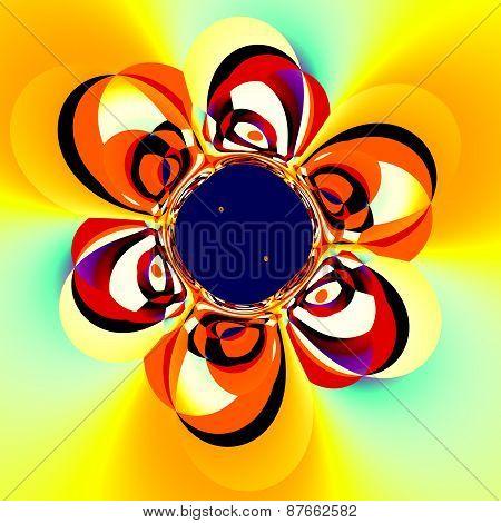 Abstract floral art. Unique decorative illustration. Surreal digital backdrop design. Flower fractal. Creative fantasy background ornamental distorted pop art. Funny psychedelic image. Deformed artsy graphic. Artistic ornate decoration. Beautiful artwork. poster
