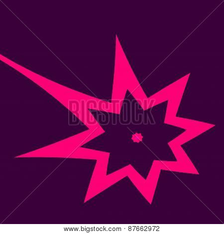 Abstract isolated star on purple background. Bomb blast. Shiny sparkle. Falling asteroid. Meteor.