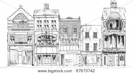 Old English town houses with small shops or business on ground floor. Bond street, London. Sketch c