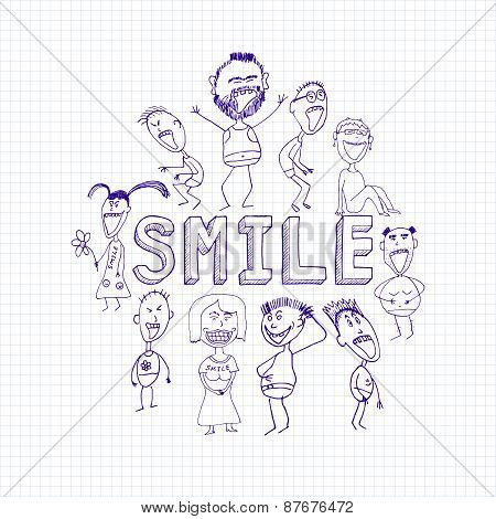 Sketch Of Happy Smiling People