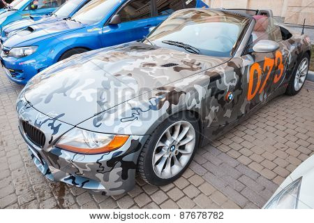 Bmw Z4 Roadster Car With Camouflage Color Scheme