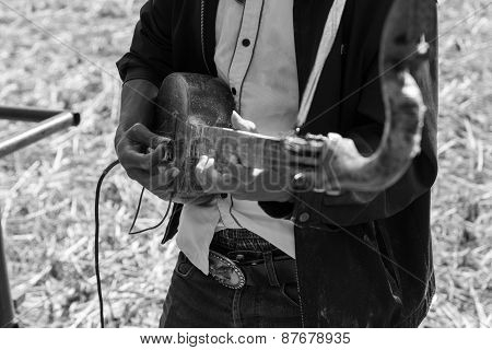 Thailand traditional musician hillbilly playing country folk music in rice paddy field black and white poster
