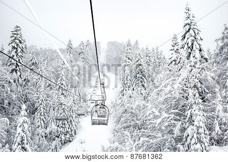 Old Cable Ski Lift With No Passangers In 'kolasin 1450' Mountain