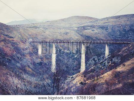 The Highest Railway Bridge In Europe Near Kolasin Crossing The C