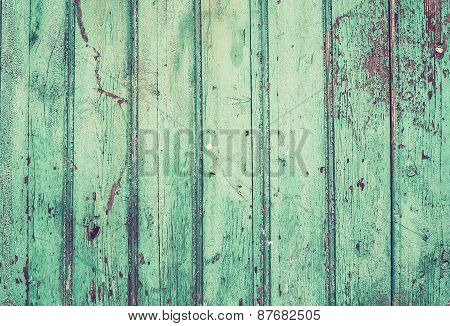 Old Rustic Painted Cracky Green Wooden Texture