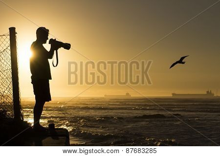 Silhouetted Wildlife Photographer