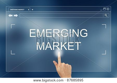 hand press on emerging market button on webpage poster