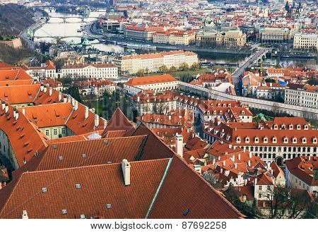 The View Over The Red Roofs Of Prague From The Tower Of The Aint Vitus Cathedral