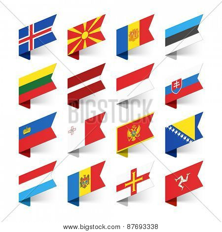 Flags of the World, Europe, set 3 vector illustration