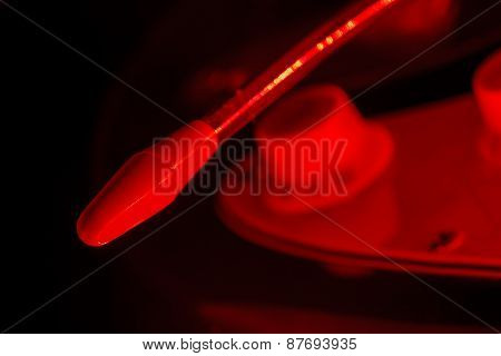 Whammy bar of an electric guitar in red light