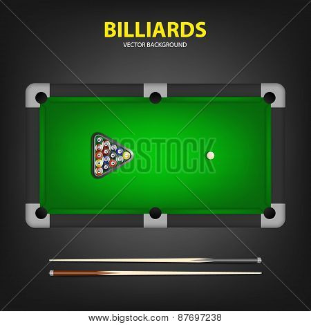 Vector Billiard Balls In Triangle And Two Cues On A Pool Table.