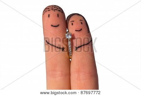 Two Fingers With Engagement Ring