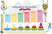 Conceptual construction project,building infographics and the logo. poster