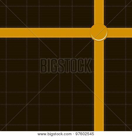 Seamless Print Of Criss-crossed Orange Ribbon On Black Background