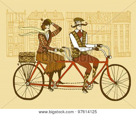 Retro Tweed Ride Illustration
