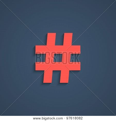 red hashtag icon with short shadow