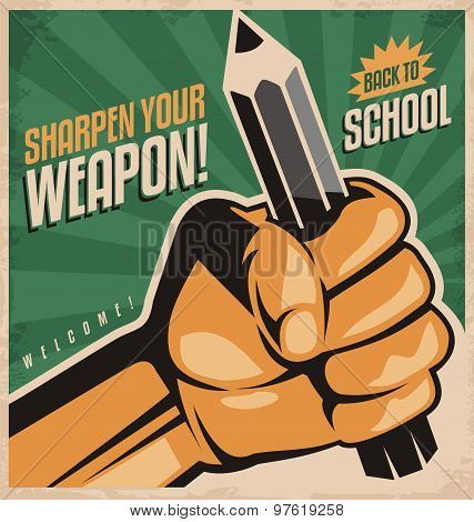Retro school poster design concept
