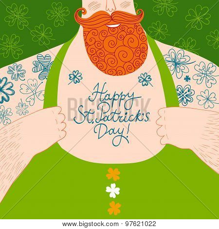 Vector St.patrick's Cartoon Illustration Of Mighty Male Chest