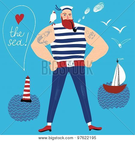 The mighty cartoon sailor with tobacco pipe.