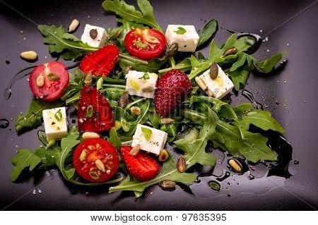 Strawberry Tomato Salad, Feta Cheese, Olive Oil