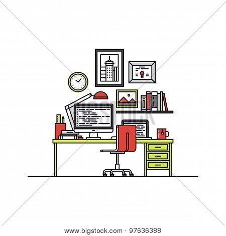 Developer Workspace Line Style Illustration