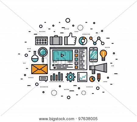 Video Marketing Strategy Line Style Illustration