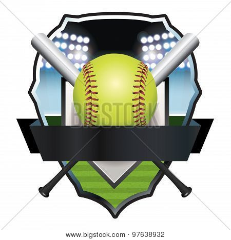 Softball Emblem Badge Illustration