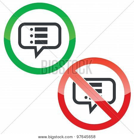 Dotted list message permission signs