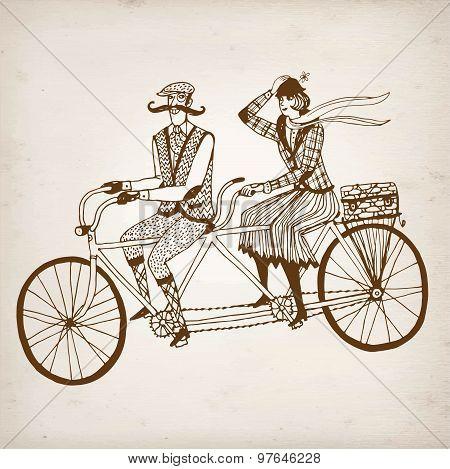 Retro Cyclists Vector Illustration