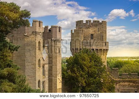 Walls of Warwick castle in Warwickshire, England. poster