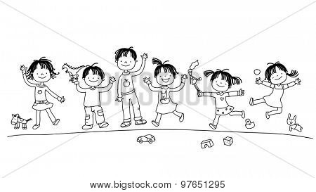 Happy smiling kids group, children playing with toys. Hand drawn line art vector illustration.