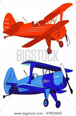 Red and blue biplanes