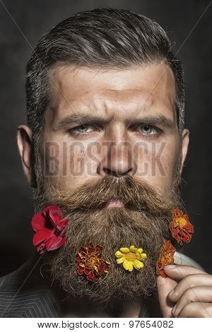 Man With Flowerbed On Face