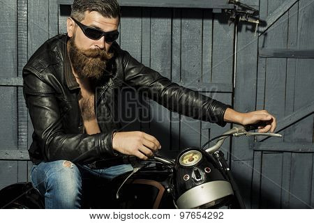 Unshaven Male Biker