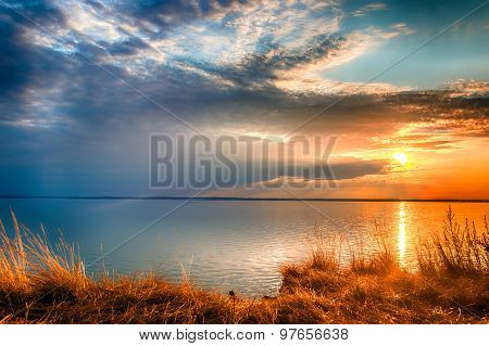 Sunset At The Gorky Reservoir Lake