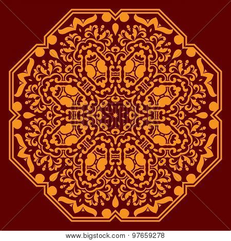 Circular ornament with orange elements