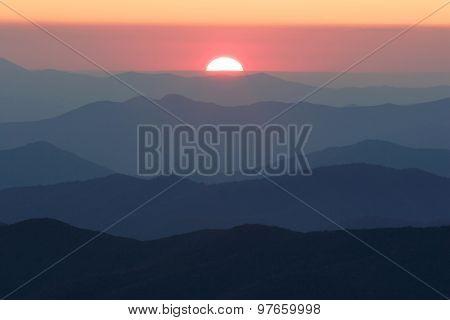 Smoky Mountain Sun Setting
