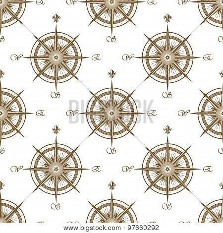 Vintage nautical compass seamless pattern
