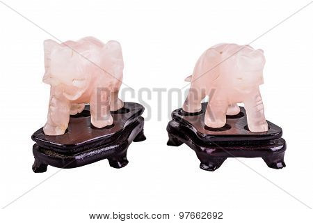 Pink Quartz Elephants