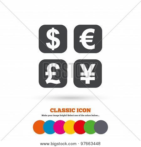 Currency exchange sign icon. Currency converter symbol. Money label. Classic flat icon. Colored circles. Vector poster