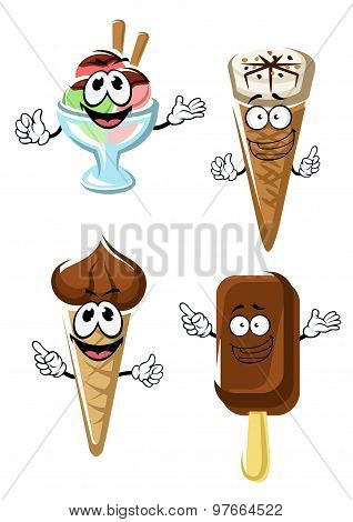 Ice cream cones, stick and sundae