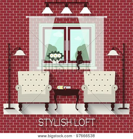 Stylish Loft With Two Armchairs, Lamps And A Window. Seamless Brick Wall In The Swatch Palette. Flat