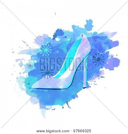 Illustration of women's accessories, High heels beautiful sandal on splash and snowflakes decorated background.