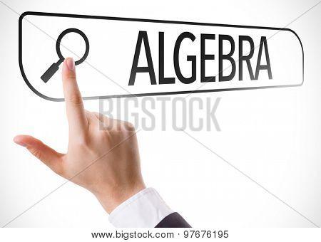 Algebra written in search bar on virtual screen