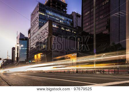 SAO PAULO, BRAZIL - CIRCA AUGUST 2015: Paulista Avenue at night in Sao Paulo, Brazil